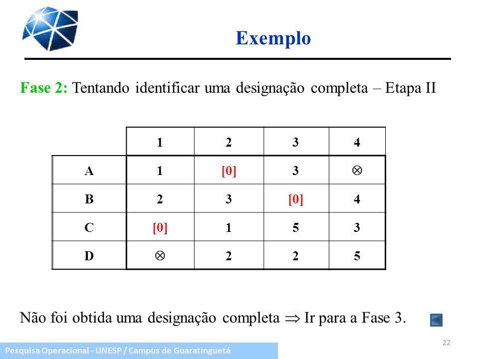 Exemplo Fase 2: Tentando identificar uma designação completa – Etapa II. Não foi obtida uma designação completa  Ir para a Fase 3.