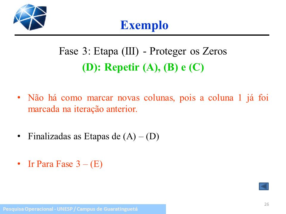 (D): Repetir (A), (B) e (C)
