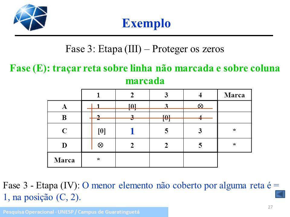 Fase (E): traçar reta sobre linha não marcada e sobre coluna marcada