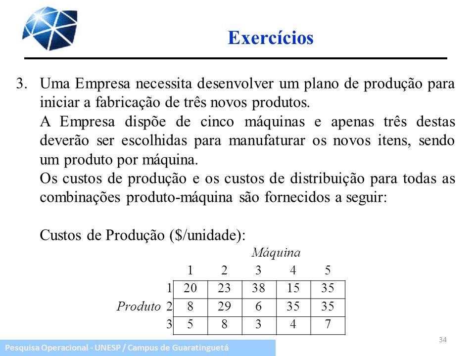 Exercícios3. Uma Empresa necessita desenvolver um plano de produção para iniciar a fabricação de três novos produtos.
