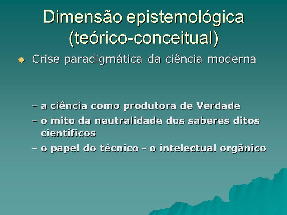 Dimensão epistemológica (teórico-conceitual)