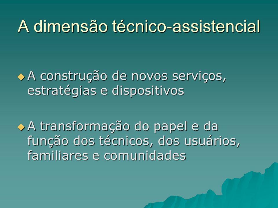 A dimensão técnico-assistencial