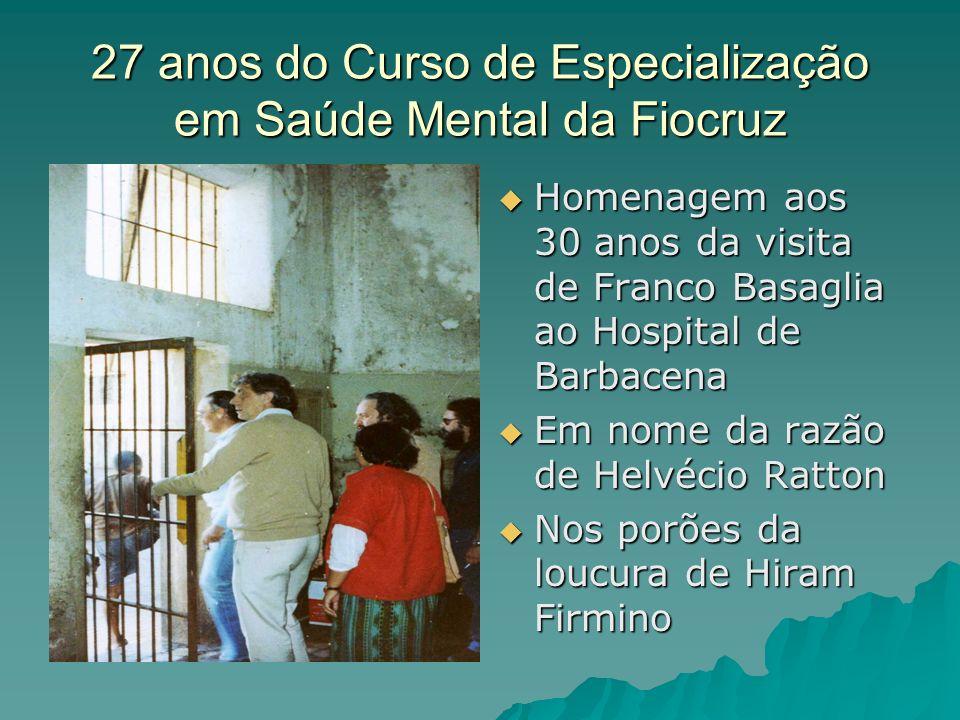 27 anos do Curso de Especialização em Saúde Mental da Fiocruz