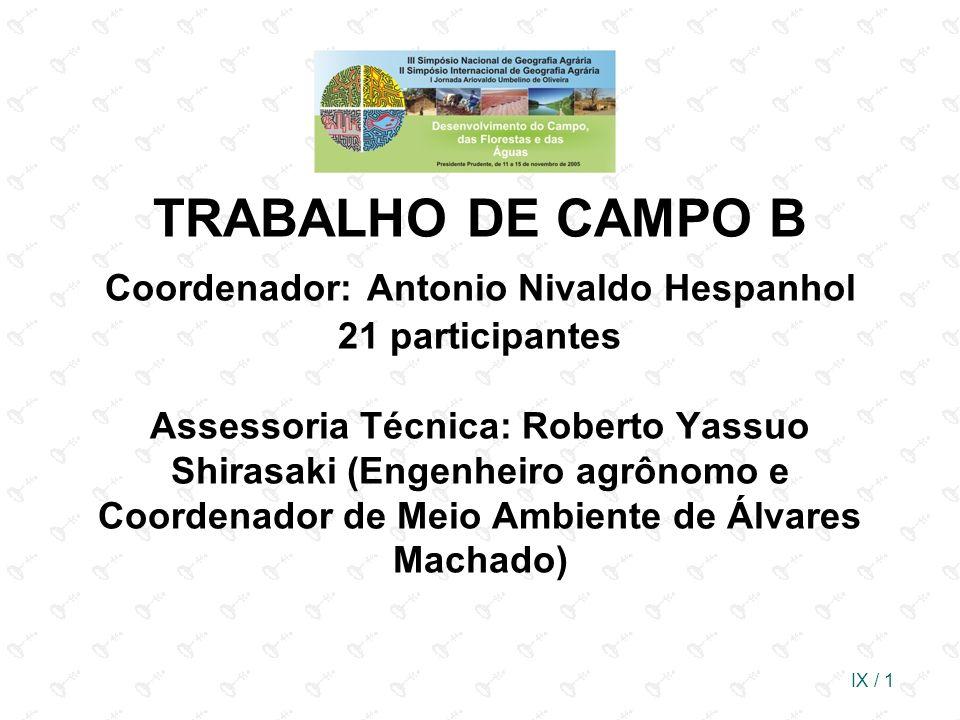 TRABALHO DE CAMPO B Coordenador: Antonio Nivaldo Hespanhol 21 participantes Assessoria Técnica: Roberto Yassuo Shirasaki (Engenheiro agrônomo e Coordenador de Meio Ambiente de Álvares Machado)