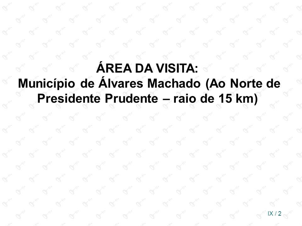 ÁREA DA VISITA: Município de Álvares Machado (Ao Norte de Presidente Prudente – raio de 15 km)