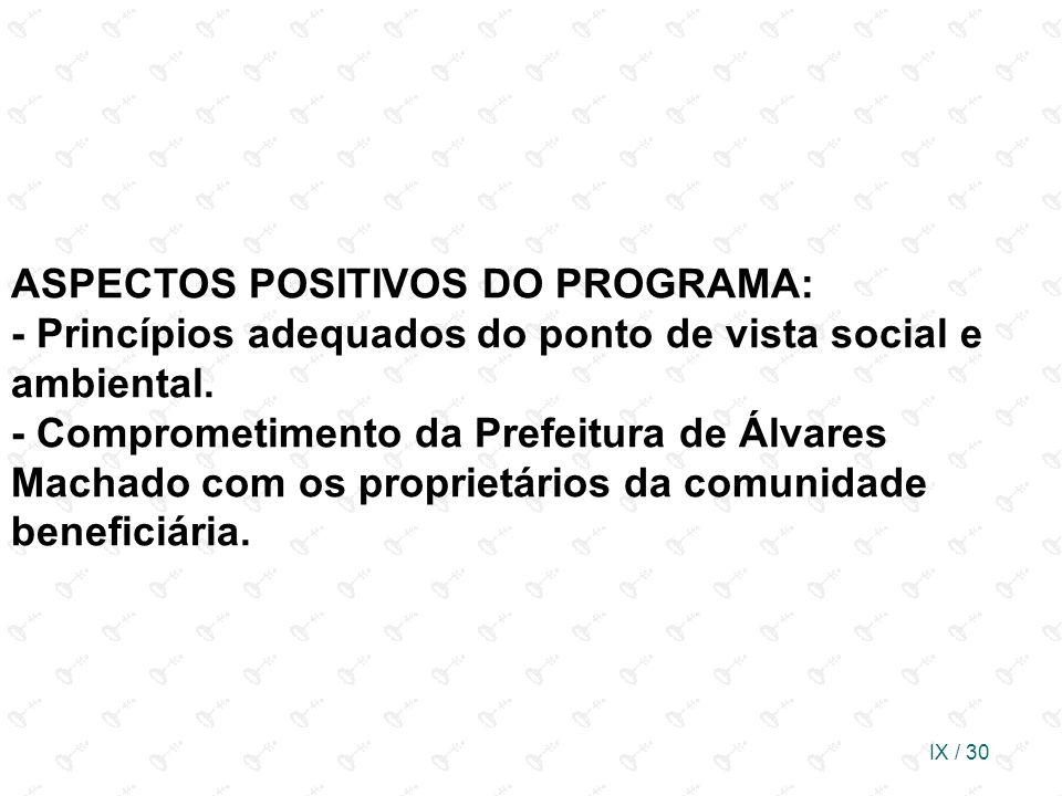 ASPECTOS POSITIVOS DO PROGRAMA: - Princípios adequados do ponto de vista social e ambiental.
