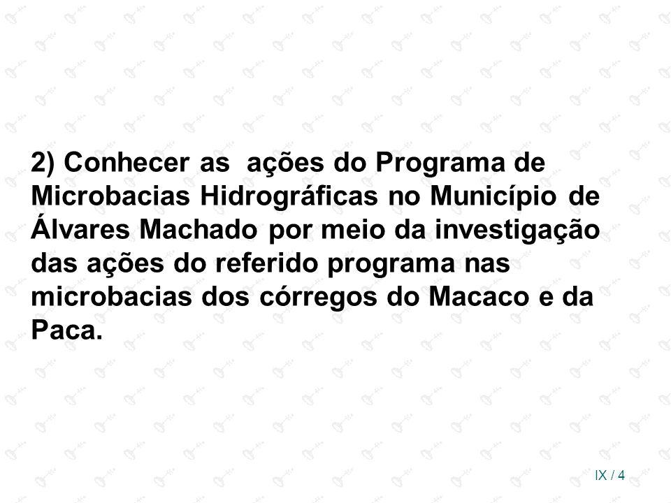 2) Conhecer as ações do Programa de Microbacias Hidrográficas no Município de Álvares Machado por meio da investigação das ações do referido programa nas microbacias dos córregos do Macaco e da Paca.