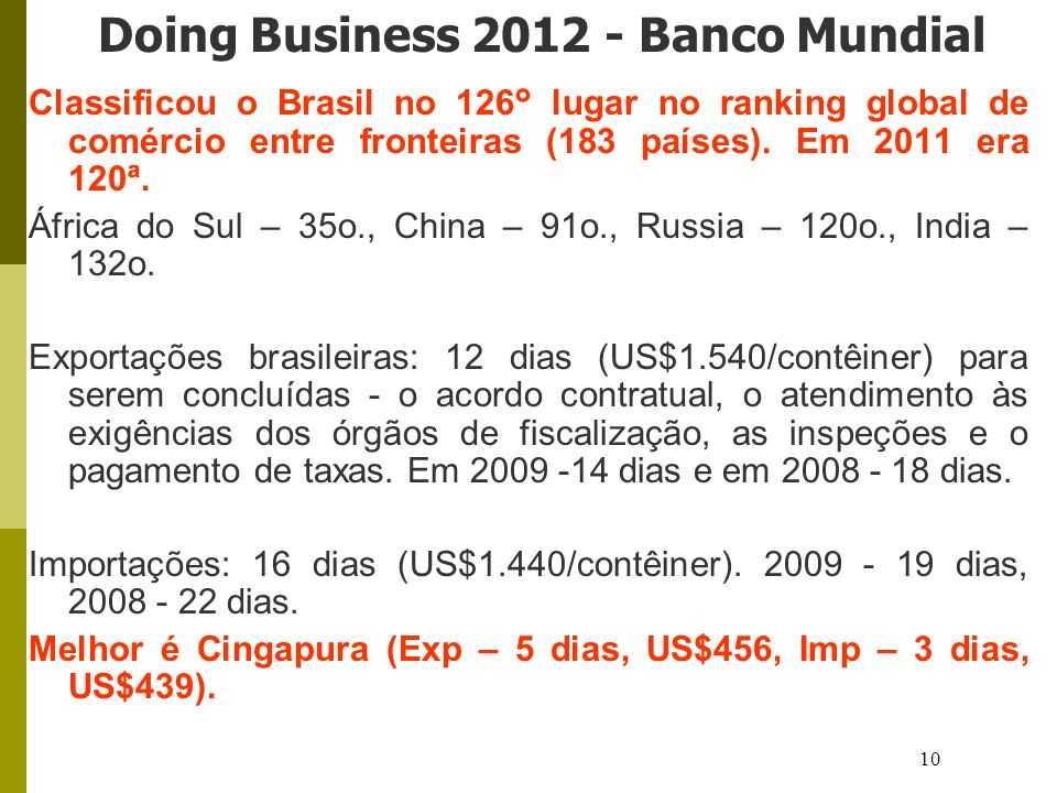 Doing Business 2012 - Banco Mundial