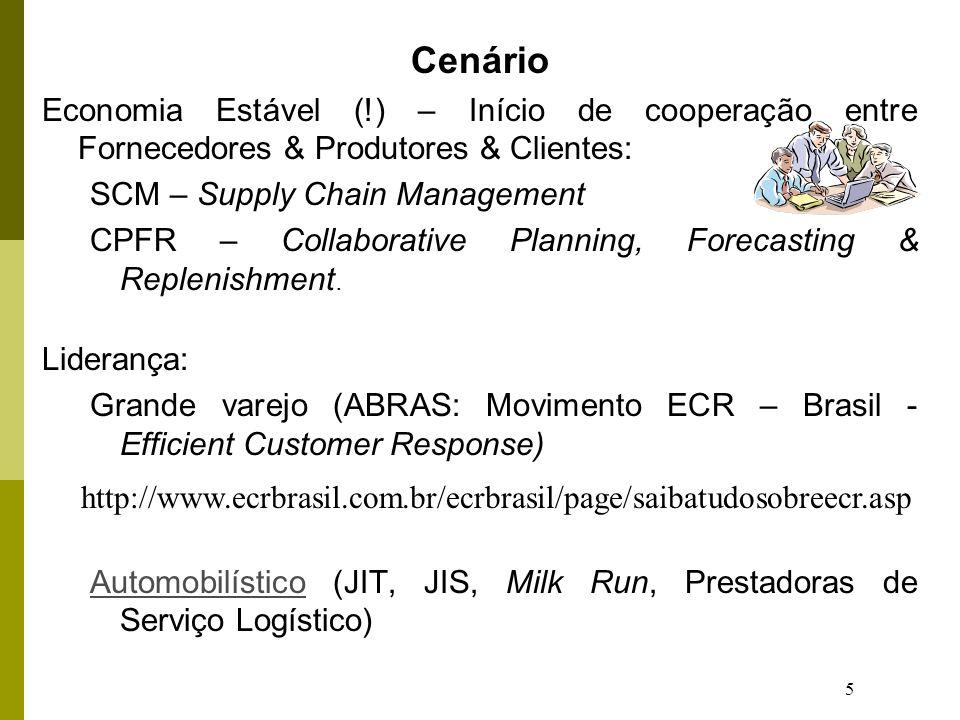 Cenário Economia Estável (!) – Início de cooperação entre Fornecedores & Produtores & Clientes: SCM – Supply Chain Management.