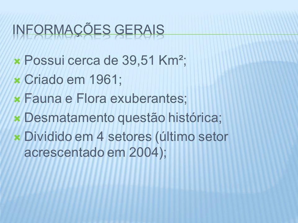 Informações gerais Possui cerca de 39,51 Km²; Criado em 1961; Fauna e Flora exuberantes; Desmatamento questão histórica;