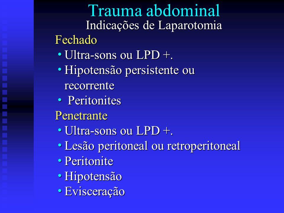 Trauma abdominal Indicações de Laparotomia