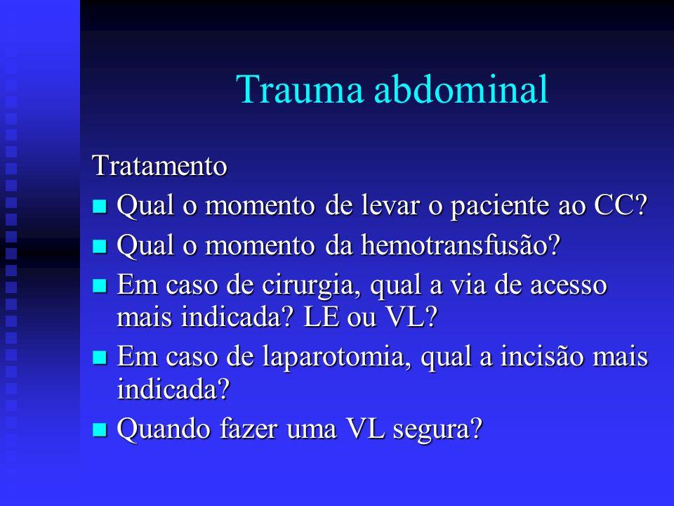Trauma abdominal Tratamento Qual o momento de levar o paciente ao CC