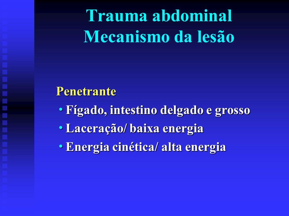 Trauma abdominal Mecanismo da lesão