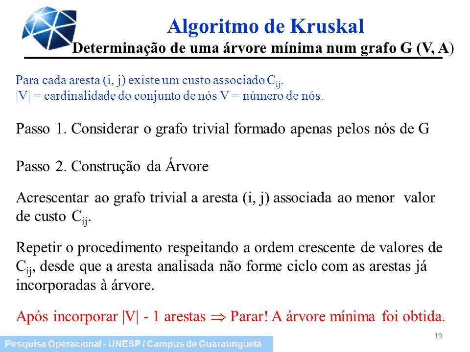 Algoritmo de Kruskal Determinação de uma árvore mínima num grafo G (V, A) Para cada aresta (i, j) existe um custo associado Cij.