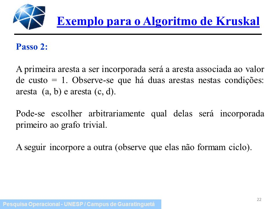 Exemplo para o Algoritmo de Kruskal