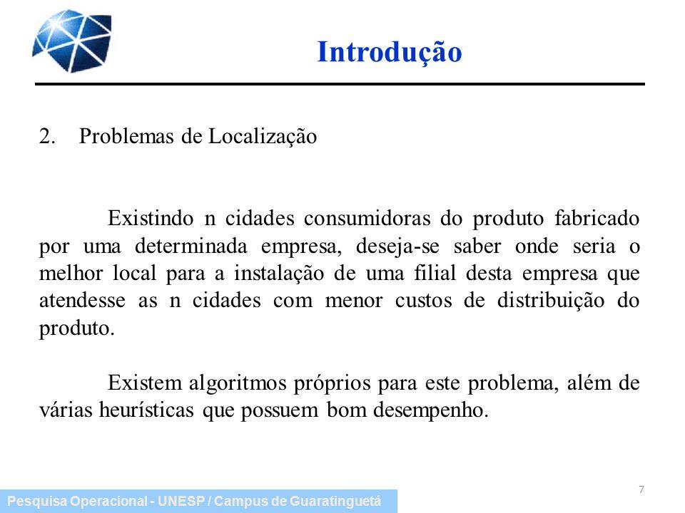 Introdução 2. Problemas de Localização