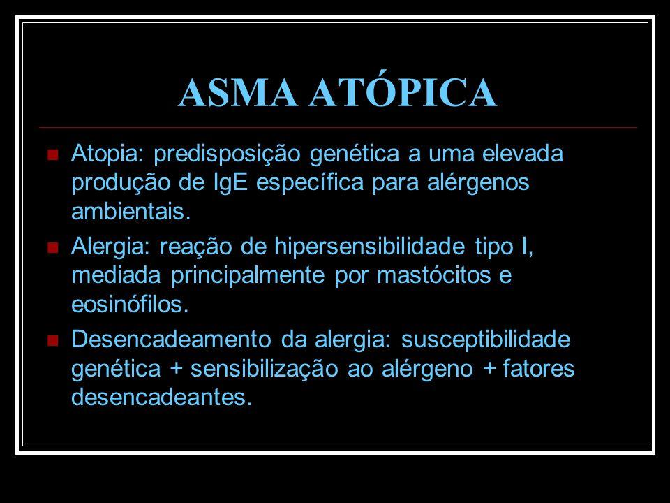 ASMA ATÓPICA Atopia: predisposição genética a uma elevada produção de IgE específica para alérgenos ambientais.