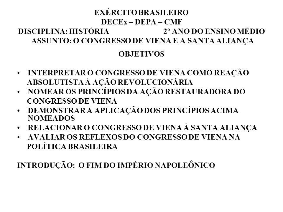 EXÉRCITO BRASILEIRO DECEx – DEPA – CMF DISCIPLINA: HISTÓRIA 2º ANO DO ENSINO MÉDIO ASSUNTO: O CONGRESSO DE VIENA E A SANTA ALIANÇA