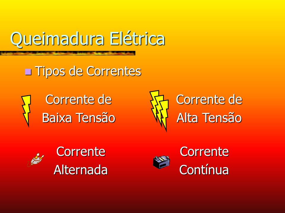 Queimadura Elétrica Tipos de Correntes Corrente de Baixa Tensão