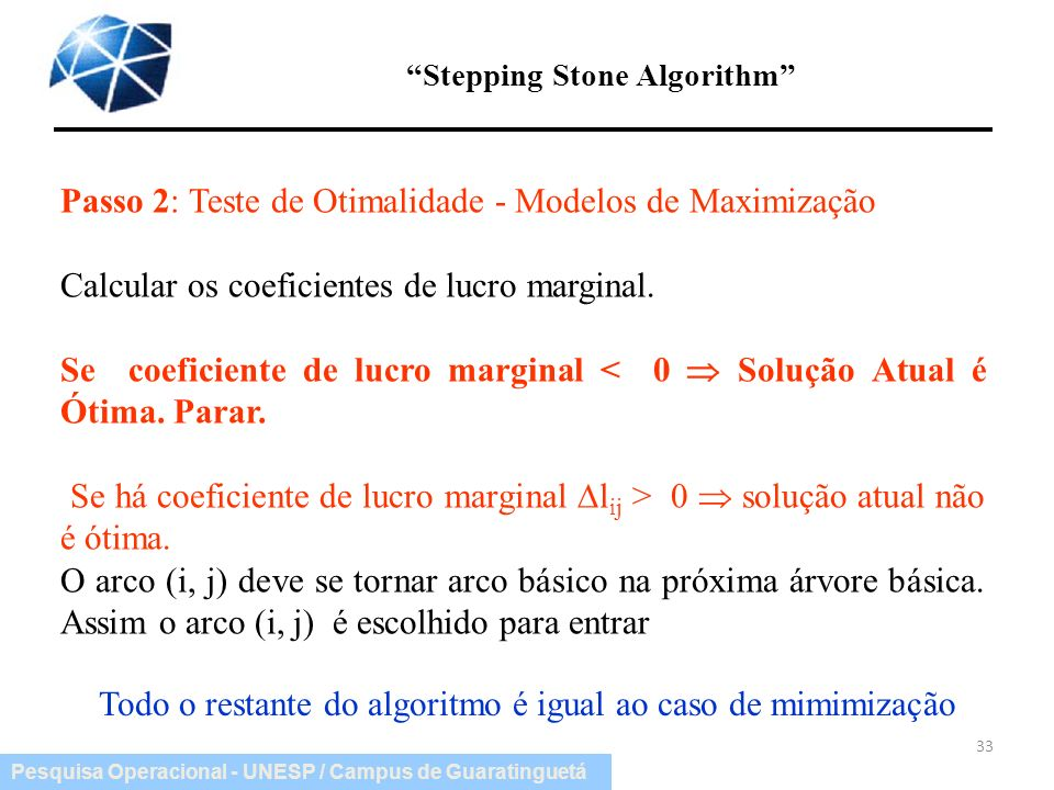 Stepping Stone Algorithm