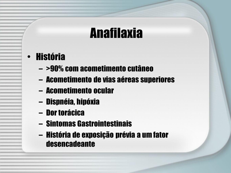 Anafilaxia História >90% com acometimento cutâneo