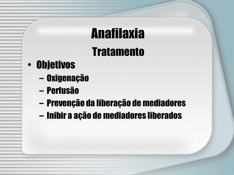 Anafilaxia Tratamento Objetivos Oxigenação Perfusão