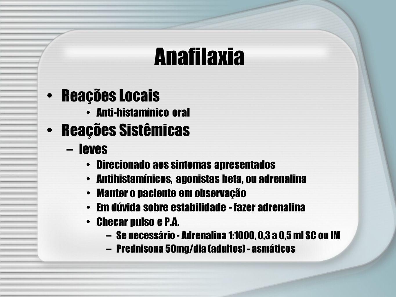 Anafilaxia Reações Locais Reações Sistêmicas leves