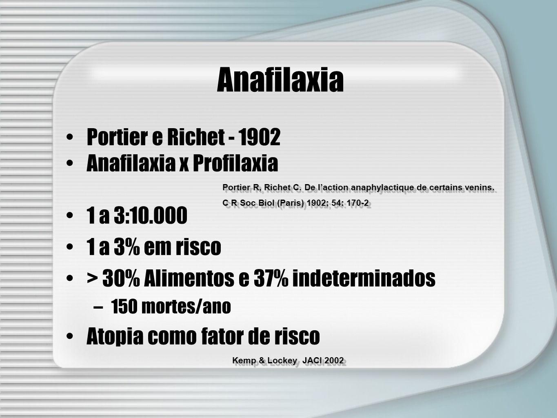 Anafilaxia Portier e Richet - 1902 Anafilaxia x Profilaxia