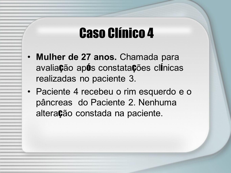 Caso Clínico 4 Mulher de 27 anos. Chamada para avaliação após constatações clínicas realizadas no paciente 3.