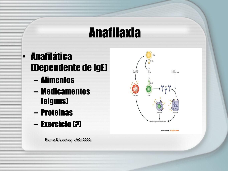 Anafilaxia Anafilática (Dependente de IgE) Alimentos