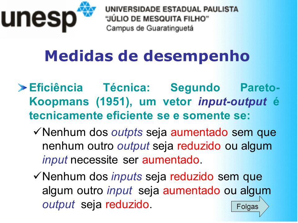 Medidas de desempenho Eficiência Técnica: Segundo Pareto-Koopmans (1951), um vetor input-output é tecnicamente eficiente se e somente se: