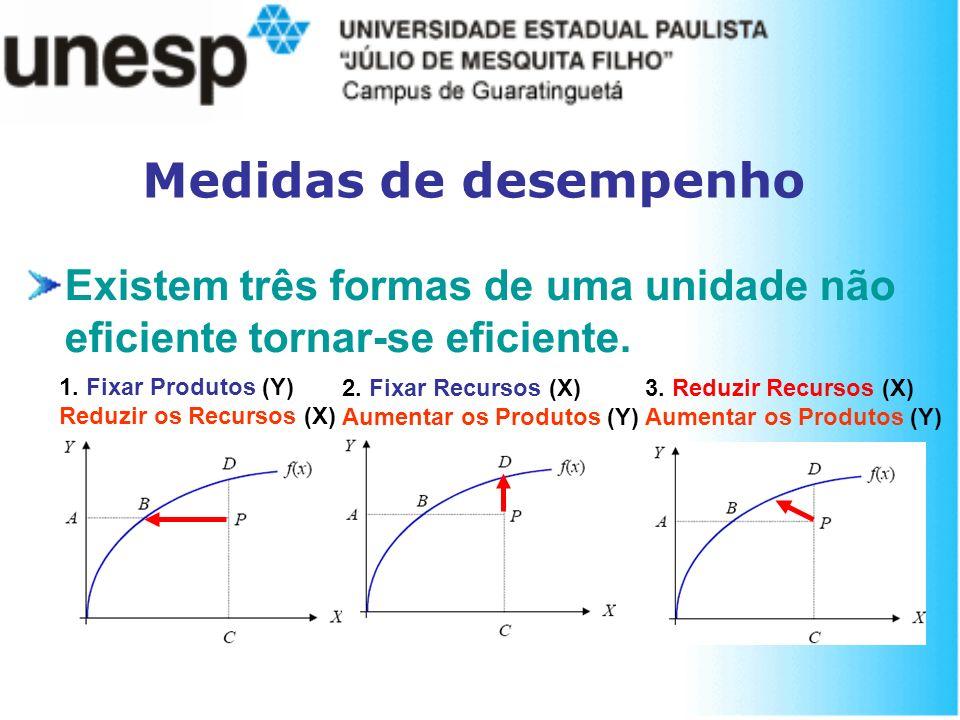 Medidas de desempenho Existem três formas de uma unidade não eficiente tornar-se eficiente. 1. Fixar Produtos (Y)