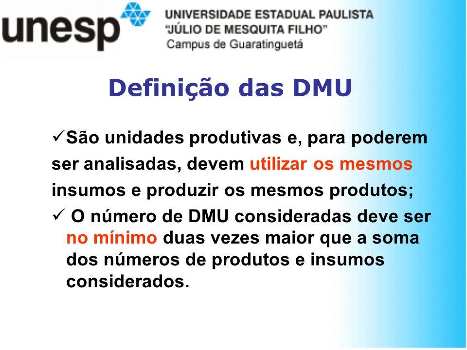 Definição das DMU São unidades produtivas e, para poderem