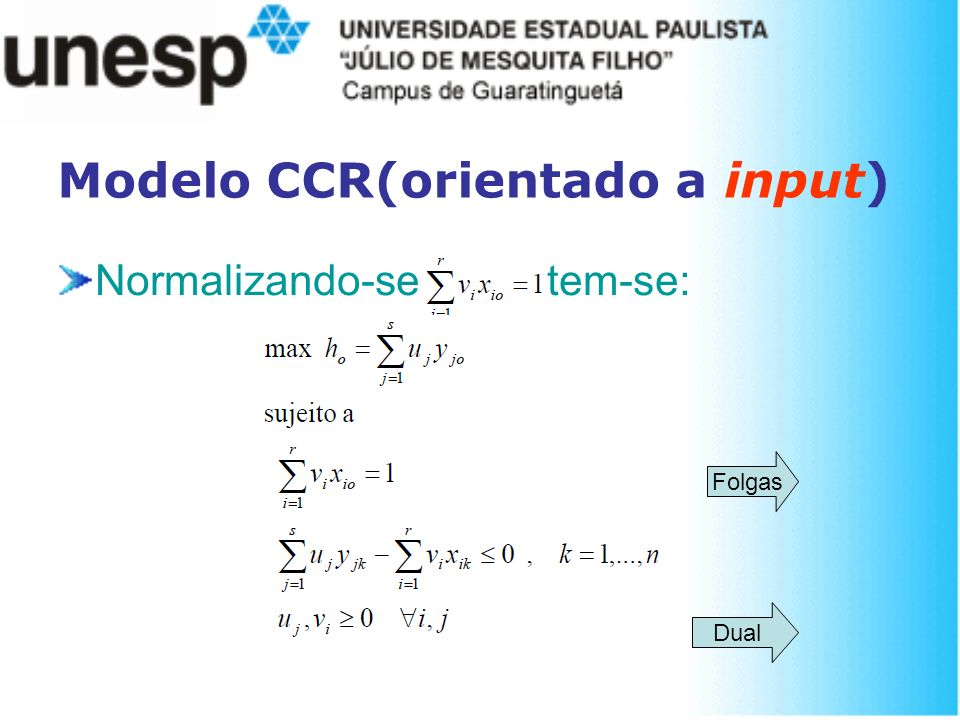 Modelo CCR(orientado a input)