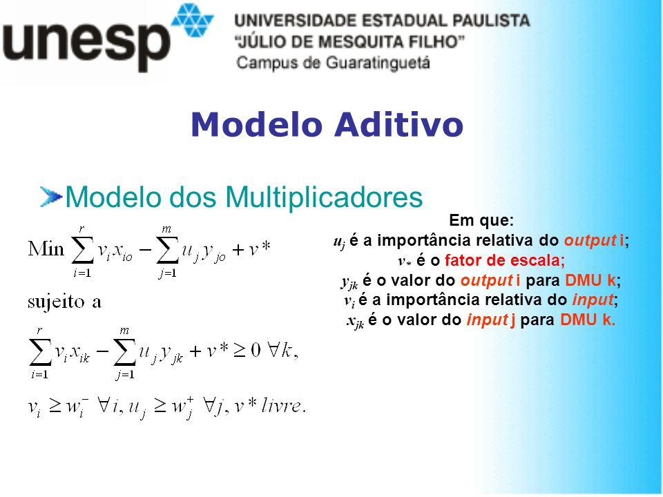 Modelo Aditivo Modelo dos Multiplicadores Em que: