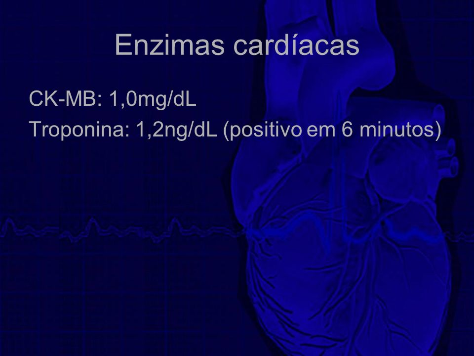Enzimas cardíacas CK-MB: 1,0mg/dL
