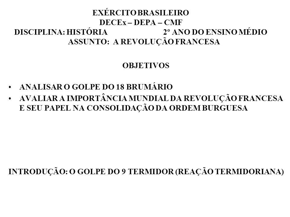 EXÉRCITO BRASILEIRO DECEx – DEPA – CMF DISCIPLINA: HISTÓRIA 2º ANO DO ENSINO MÉDIO ASSUNTO: A REVOLUÇÃO FRANCESA