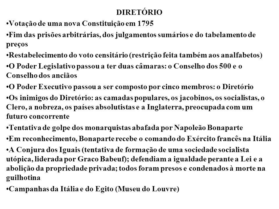DIRETÓRIO Votação de uma nova Constituição em 1795. Fim das prisões arbitrárias, dos julgamentos sumários e do tabelamento de preços.