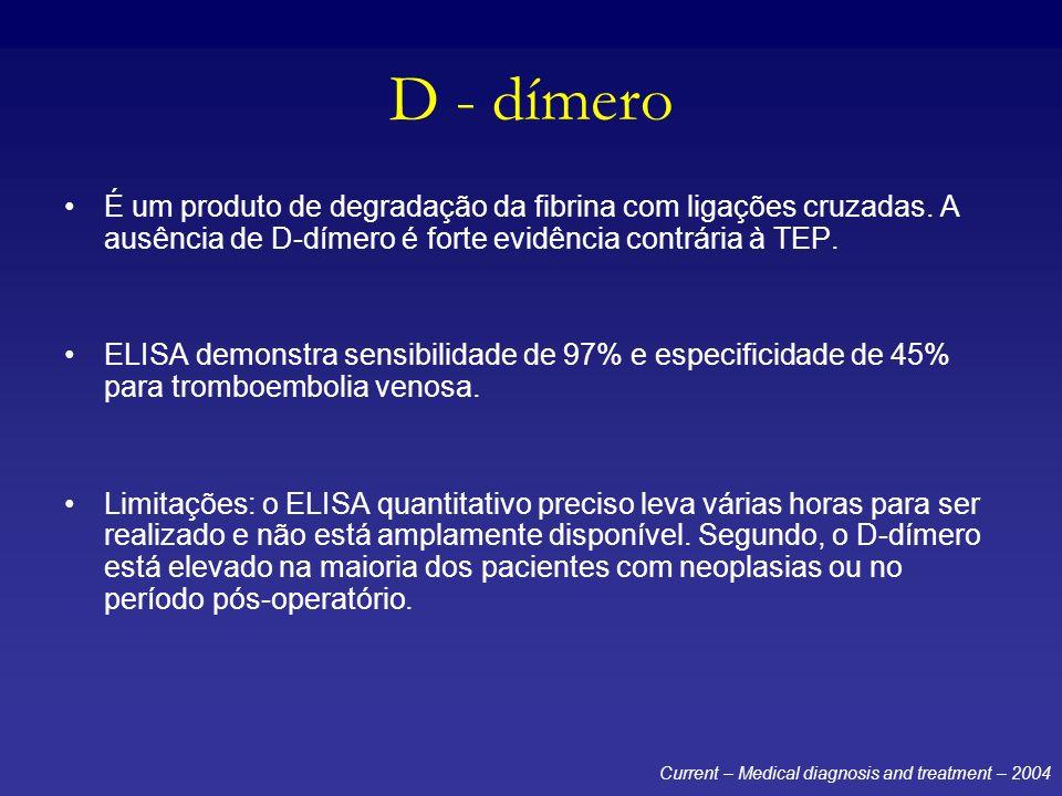 D - dímero É um produto de degradação da fibrina com ligações cruzadas. A ausência de D-dímero é forte evidência contrária à TEP.