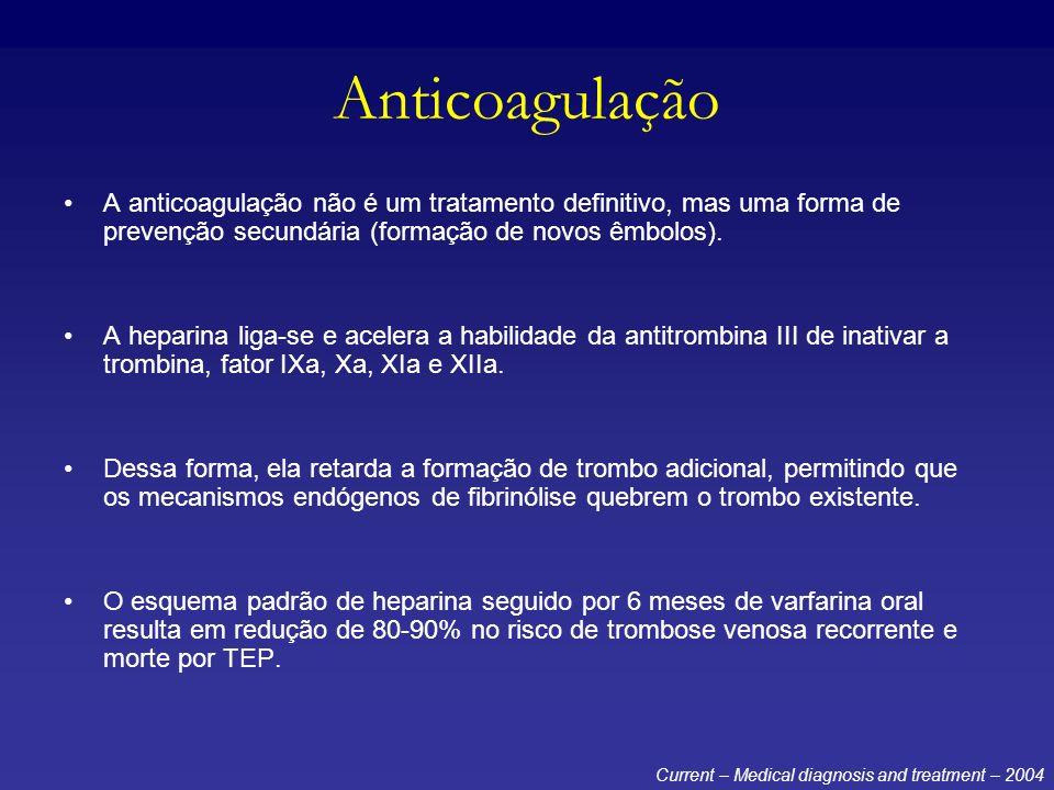 Anticoagulação A anticoagulação não é um tratamento definitivo, mas uma forma de prevenção secundária (formação de novos êmbolos).