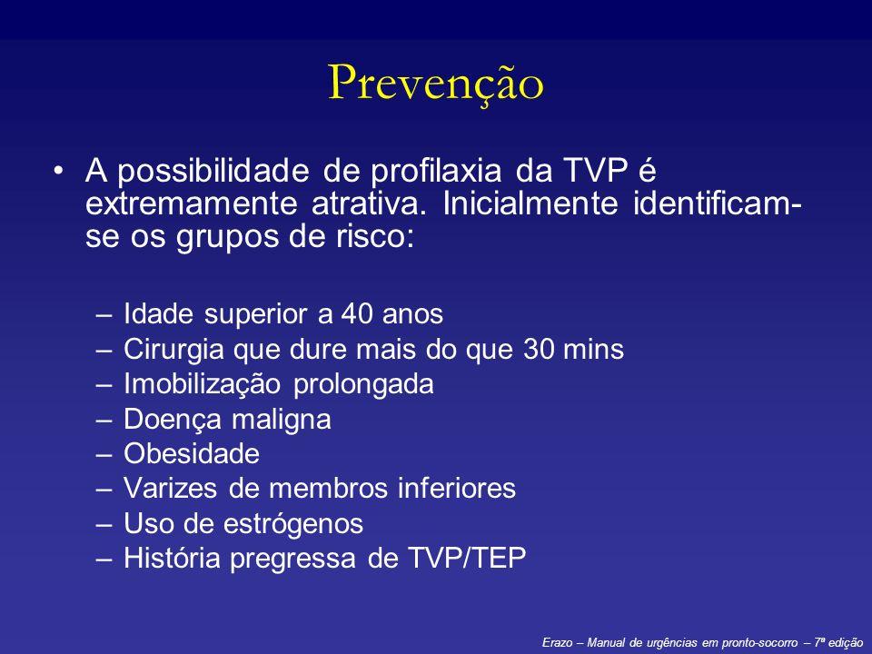 Prevenção A possibilidade de profilaxia da TVP é extremamente atrativa. Inicialmente identificam-se os grupos de risco: