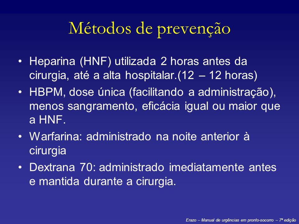 Métodos de prevençãoHeparina (HNF) utilizada 2 horas antes da cirurgia, até a alta hospitalar.(12 – 12 horas)