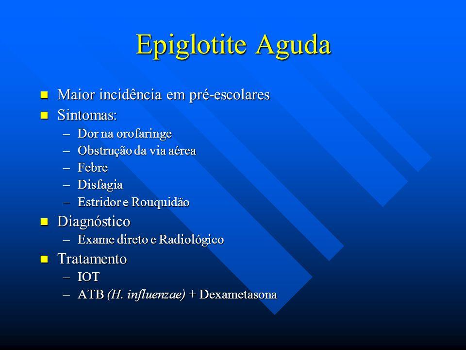Epiglotite Aguda Maior incidência em pré-escolares Sintomas: