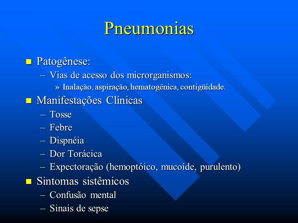 Pneumonias Patogênese: Manifestações Clínicas Sintomas sistêmicos