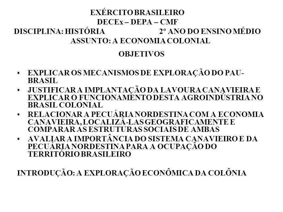 EXÉRCITO BRASILEIRO DECEx – DEPA – CMF DISCIPLINA: HISTÓRIA 2º ANO DO ENSINO MÉDIO ASSUNTO: A ECONOMIA COLONIAL