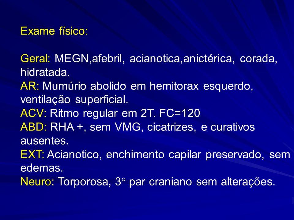 Exame físico: Geral: MEGN,afebril, acianotica,anictérica, corada, hidratada. AR: Mumúrio abolido em hemitorax esquerdo, ventilação superficial.