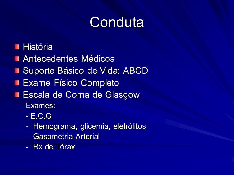 Conduta História Antecedentes Médicos Suporte Básico de Vida: ABCD