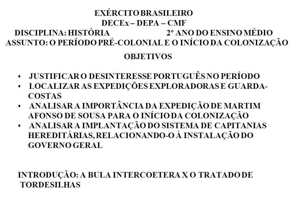 EXÉRCITO BRASILEIRO DECEx – DEPA – CMF DISCIPLINA: HISTÓRIA 2º ANO DO ENSINO MÉDIO ASSUNTO: O PERÍODO PRÉ-COLONIAL E O INÍCIO DA COLONIZAÇÃO