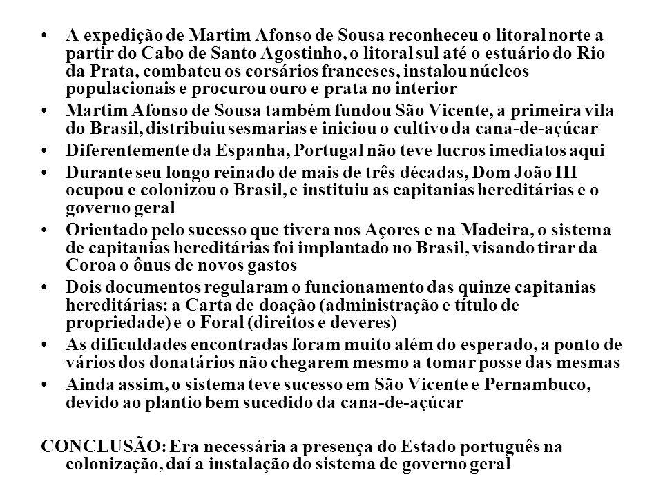 A expedição de Martim Afonso de Sousa reconheceu o litoral norte a partir do Cabo de Santo Agostinho, o litoral sul até o estuário do Rio da Prata, combateu os corsários franceses, instalou núcleos populacionais e procurou ouro e prata no interior
