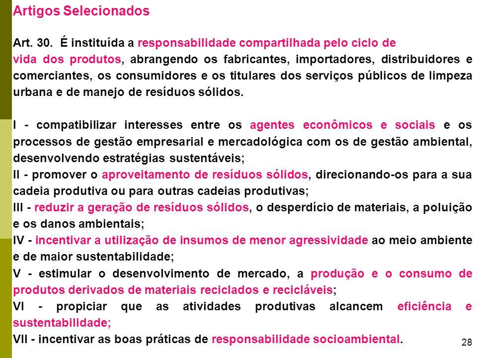 Artigos Selecionados Art. 30. É instituída a responsabilidade compartilhada pelo ciclo de.